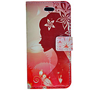 Paper-cuts of Girl's Side Face Pattern PU Full Body Case with Stand and Card Slot for iPhone 5C