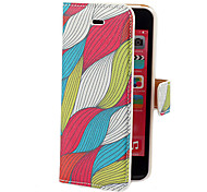 Colorful Waves Pattern PU Full Body Case with Card Slot and Stand for iPhone 5C