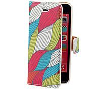 Waves Colorful Pattern PU Case Full Body avec fente pour carte et stand pour iPhone 5C