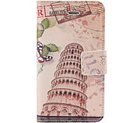 Leaning Tower of Pisa Pattern PU Full Body Case with Card Slot and Stand for iPhone 4/4S