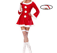 Sweet Girl Red Velvet Christmas Costume with Gift Bag