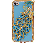 Pavone Magnifico con Blue Diamond e Crystal coperto per iPhone 4/4S