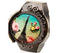 Frauen Paris Turm Muster Weinlese-Legierung Analog Quarz Ring Uhr