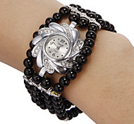 Women's Diamante Flower Pattern Dial Black Beads Band Quartz Analog Bracelet Watch Cool Watches Unique Watches