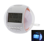 "2.5"" Ball Shape LCD Digital Alarm Clock with FM Radio, Thermometer, Calendar and Snooze Function(White,3xAA)"