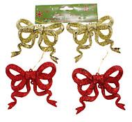 4pcs Ouro & Red Glitter bowknot Decoração de Natal