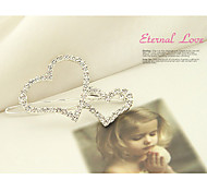 Sweet Style Double Heart Silver Hairpins