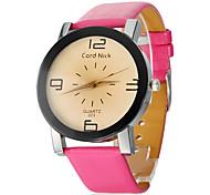 Números grandes PU del dial del cuarzo de la venda reloj del análogo de la mujer (varios colores)