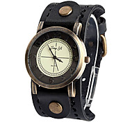 Women'S Round Pu Quartz Analog Wrist Watch