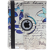 Noble Design Blue Elegant Butterfly Pattern 360 Degree Rotatable PU Leather Full Body Case with Stand for iPad 2/3/4