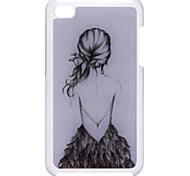 Cartoon-Stil Mädchen Zurück Pattern Epoxy Hard Case für iPod Touch 4