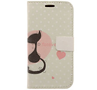 Lovely Cat Drawing Pattern Faux Leather Hard Plastic Cover Pouches for Samsung Galaxy S3 I9300