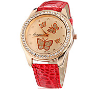 Women's Butterfly Pattern Diamante Round Dial PU Band Quartz Analog Wrist Watch (Assorted Colors)