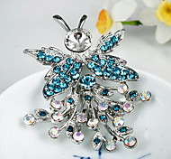 Women's Fashion Blue Crystal Silver Plated Brooch