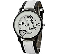 Women's Fashion Watch Wrist watch Quartz Band Heart shape Black Red Brown Pink Purple Rose