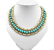 European Golden Alloy tatement Necklace(Blue,Black,Pink)(1 Pc)
