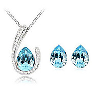 Crystal Water-Drop Earrings & Necklace Jewelry Set
