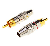1 Paar RCA Plug audiokabel Mannelijk Connector Gold Adapter