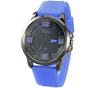 Unisex Alloy Dial Silicone Band Quartz Analog Wrist Watch (Assorted Colors)