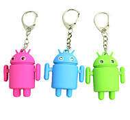 Cute Android Robot Style Keychain w/2-Blue LEDs/Sound Effect(3xAG10, Random Color)