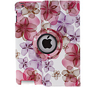 360 Degree Rotating Peach Blossom Pattern Full Body Case with Stand for iPad 2/3/4