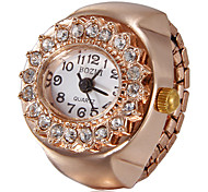 Frauen Diamante runden Zifferblatt Rose Gold Legierungs-Quarz-Analog-Ring-Uhr