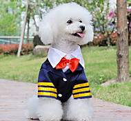 Bonito Capitán Shirt Marina de estilo con Bowknot para Mascotas Perros (diferentes tamaños)
