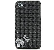 doggy Muster schwarz Schutzhülle mit CZ-Diamanten für iPhone 4/4S