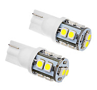 2 piezas T10 1W 10x3528SMD 70-90LM 6000K Cool White LED Light Bulb (12V)