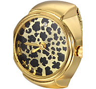 Women's Leopard Print Pattern Gold Alloy Quartz Ring Watch