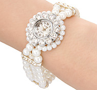 Women's Watch Flower Style Case Pearl Band Bracelet Watch