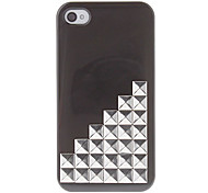 Silver Square Rivets Covered Up Stairs Pattern Hard Case with Glue for iPhone 4/4S (Assorted Colors)