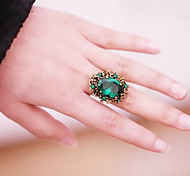 (1 Pc)Fashion Women's Green Agate Statement Rings