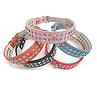 Adjustable PU Leather Two Rows Rhinestone Collar for Pets Dogs (Assorted Colors, Sizes)
