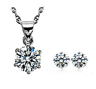 Silver Flower Earrings & Necklace Jewelry Set