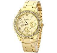Unisex Diamante Gold Dial Alloy Band Quartz Analog Wrist Watch