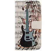 Guitar Melody Drawing Pattern Faux Leather Hard Plastic Cover Pouches for Samsung Galaxy S4 I9500