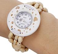 Women's Heart Pattern Round Dial Wooden Beads Band Quartz Analog Bracelet Watch