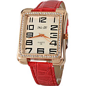 Diamante caso clássico PU banda analógica relógio de pulso de quartzo das mulheres (cores sortidas)