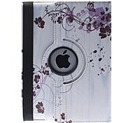 Patrón vid de la flor simple y elegante de 360 grados giratoria cuero de la PU caso completo del cuerpo con el soporte para iPad 2/3/4
