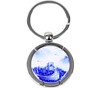 Personalized Engraved Gift Creative Blue and White The Great Wall Pattern Keychain