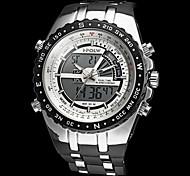 Men's Fashion Double Time Digital Rubber Sports Wristwatch