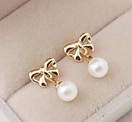 Bowknot Pearl Drop Earrings