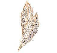 Full-cristalino de la broche de la hoja de oro