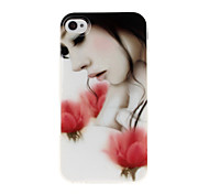 Rose Girl Pattern TPU Soft GEL Back Case Cover for iPhone 4/4S