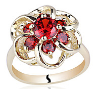 Flower Shape Yellow Gold Finish Sterling Silver Ring For Womne With Round Zircon