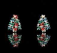 Fashion Christmas Tree (Triangle Drop) Dark Green Crystal Stud Earrings(Dark Green) (1 Pair)