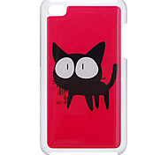 Cartoon Style Scared Black Cat Pattern Epoxy Hard Case for iPod Touch 4
