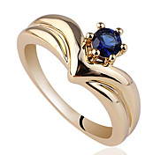 Crown Shape Gold Finish Sterling Silver Ring For Women With Solitaire Round Zircon