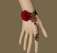 Lolita Jewelry Gothic Lolita Bracelet/Ring Vintage Vampire Queen Handmade Red/Golden Lolita Accessories Bracelet with Red Gemstone Ring For Women